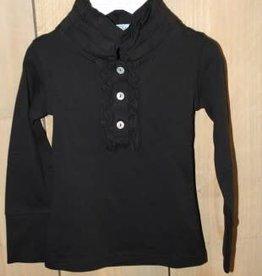 Porto Azul Shirt zwart met roesel kraagje
