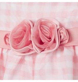 Mayoral Mayoral Jurkje roze/ wit ruitje met satijnen roos en tuille laag