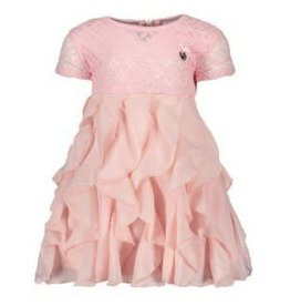 Le Chic Le Chic jurkje roze van kant met roesel rok
