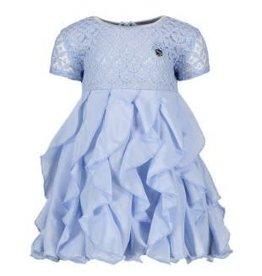 Le Chic Le Chic jurkje licht blauw van kant met roesel rok