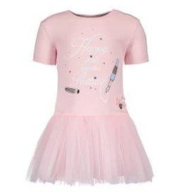 Le Chic Le Chic Jurkje roze van tricot en tuille rok