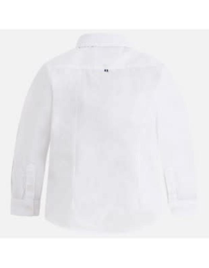 Mayoral mayoral Overhemd wit met licht blauw gestreepte manchetten