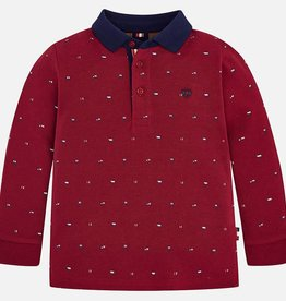 Mayoral Mayoral L/s printed polo Red Wine