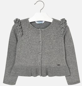 Mayoral Mayoral Knit cardigan with flounces Steel