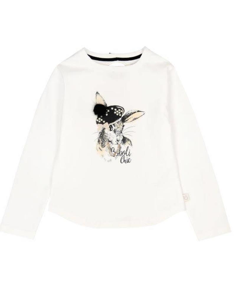 Boboli Boboli Stretch knit t-Shirt for girl OFF WHITE-2