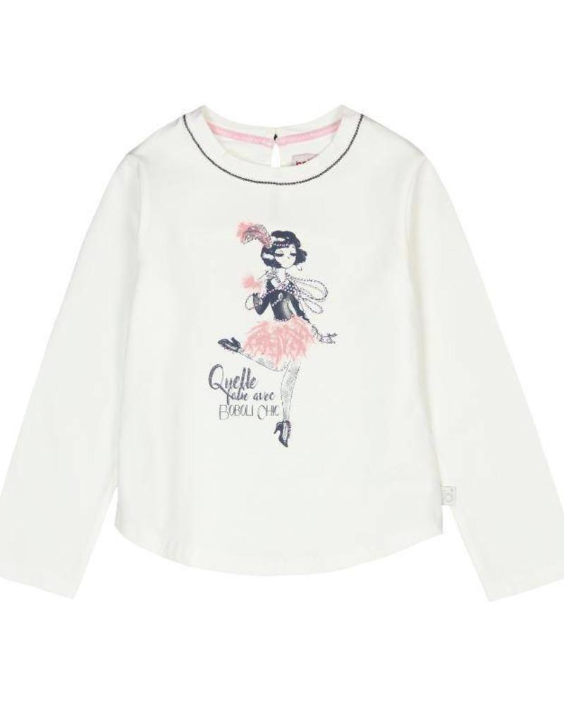 Boboli Boboli Stretch knit t-Shirt for girl OFF WHITE-4