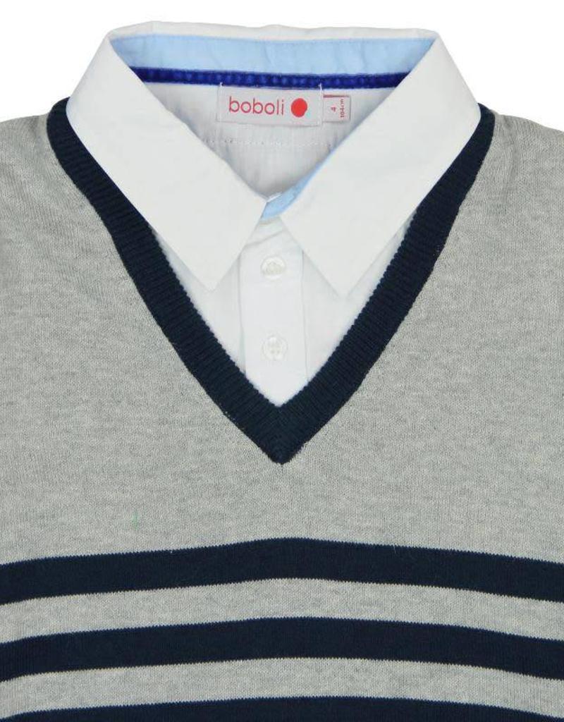Boboli Boboli Knitwear combined pullover for boy navy