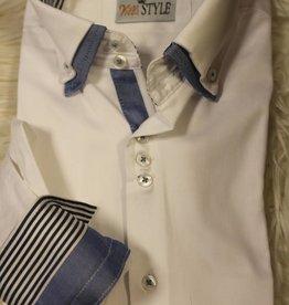 Villa Style Villa Style Overhemd wit lichtblauw met hoog boord