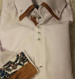 Villa Style Villa Style Overhemd wit/cognac met hoog boord