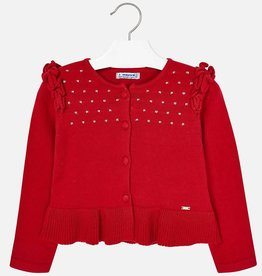 Mayoral Mayoral Knit cardigan with flounces Red