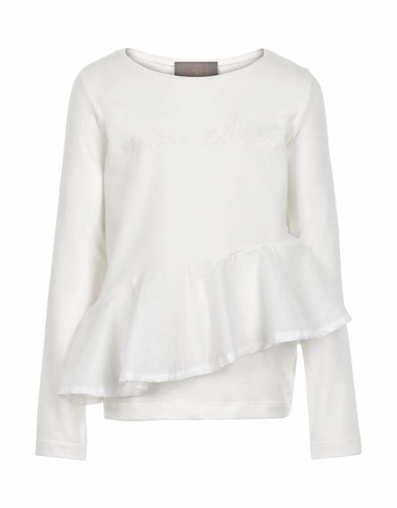 Creamie Creamie Shirt off white met roesel op voorpand