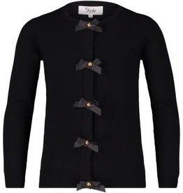 Jacky Jacky Vest fijn gebreid zwart met satijnen strikjes
