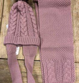 Mac Ilusion Mac Ilusion set muts en sjaal oud roze