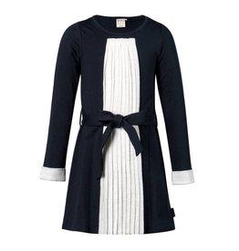 Jottum Jottum jurk donkerblauw met off white plissé  strook