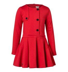 Jottum Jottum jurk rood met donkerblauwe knopen