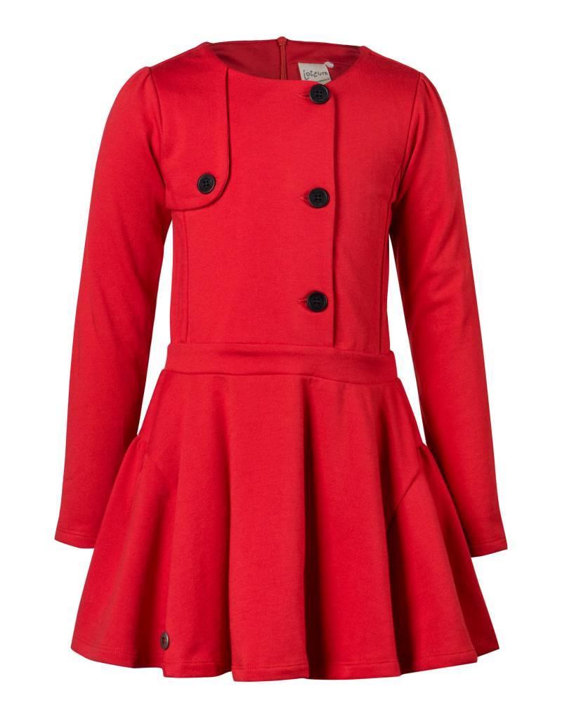76b4632cdb47a2 Jottum Jottum jurk rood met donkerblauwe knopen - Villa Rose