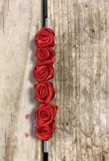 Roosjes rood op rietje 6 stuks