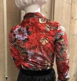 Villa Style Villa Style Shirt rood fluweel met bloemen