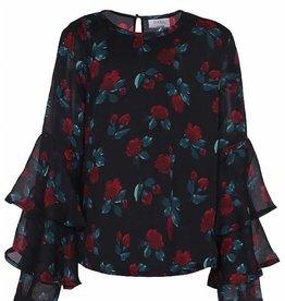 D- Xell D-XEL shirt zwart gebloemd