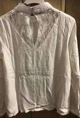 D-XEL shirt met kraagje en kanten achterkant creme