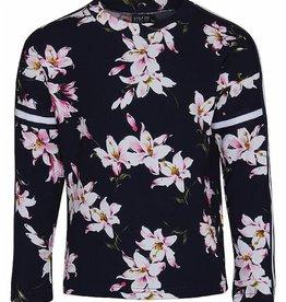 KIDS UP shirt donkerblauw met bloemen
