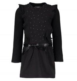 Le Chic Le Chic jurk zwart met steentjes en roezels