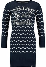 Baker Bridge Baker Bridge jurk donkerblauw met streep en zilveren opdruk