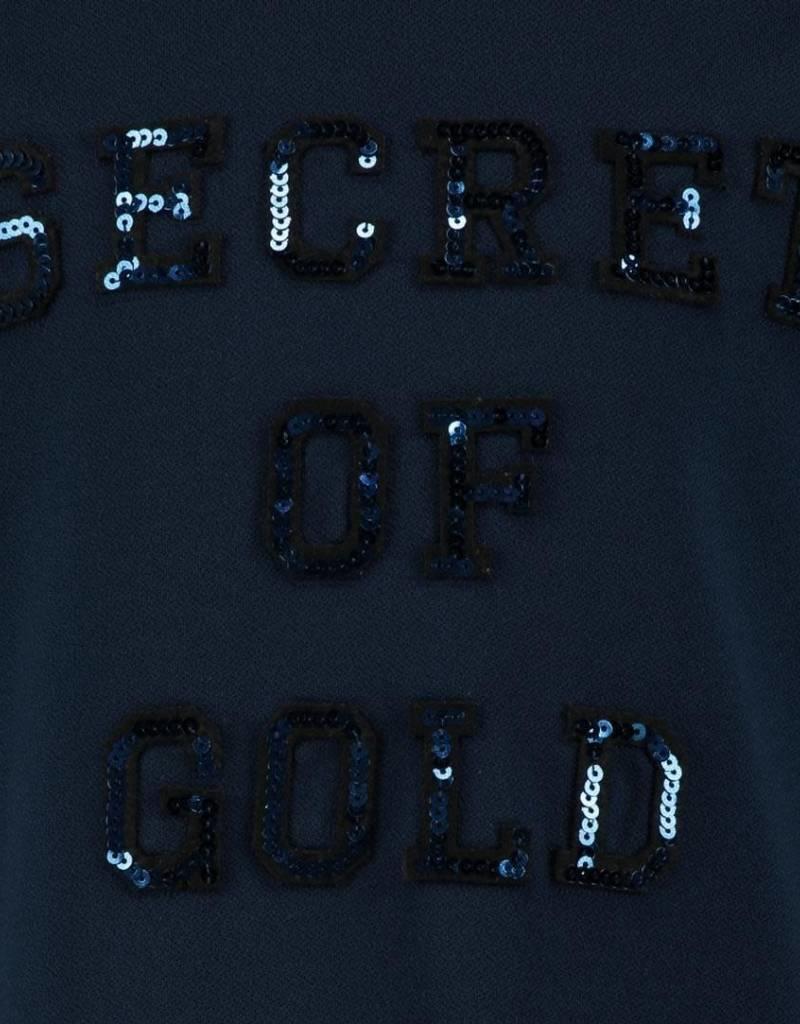 Baker Bridge Baker Bridge jurk donkerblauw met glitter letters