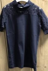 D-XEL shirt blauw met kanten mouwen en kraagje