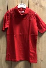 D-XEL shirt rood met kanten mouwen en kraagje