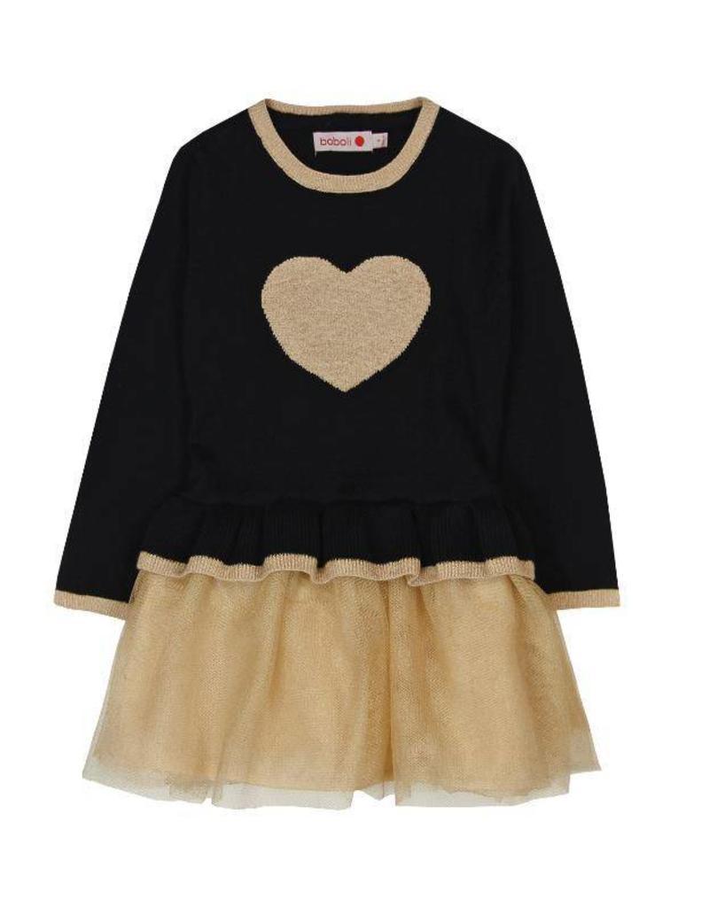 Boboli Boboli Knitwear combined dress for girl BLACK