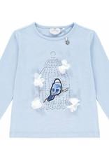 A'Dee A Dee  Shirt lichtblauw met vogels en witte bloem