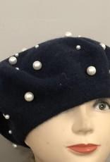 Baret donkerblauw met parels