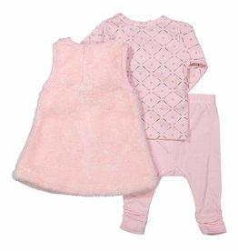 DJ DJ 3 pce babysuit dress Z-SO SOFT TINY MOUSE Light pink + grey aop