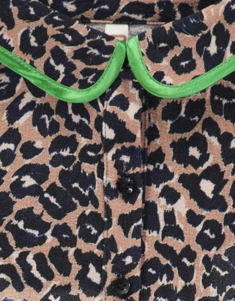 CKS CKS Kraagje tijgerprint met groen satijnen rand