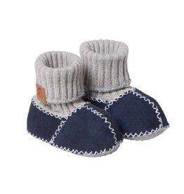 Fellhof Fellhof babyslofjes lichtblauw met donkerblauw