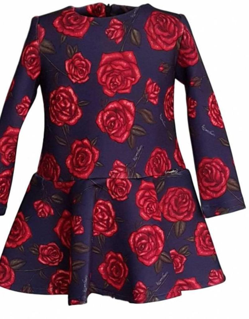 Conguitos Conguitos jurk blauw met rode rozen