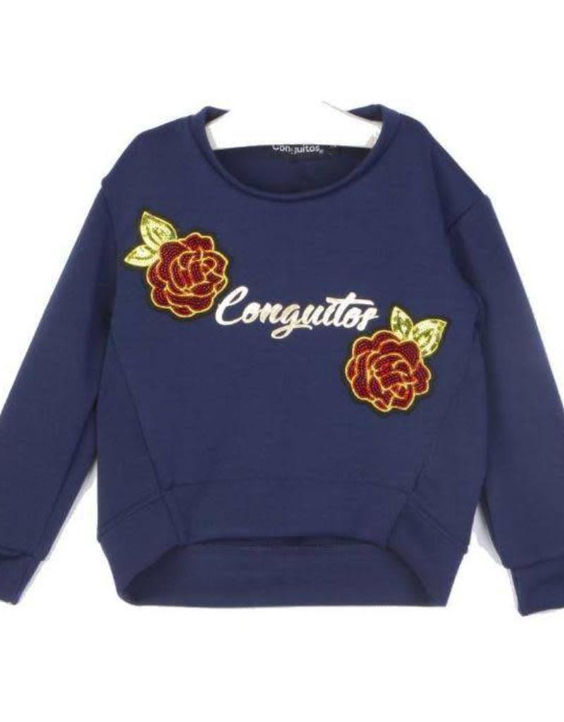 Conguitos Conguitos  Sweater blauw met rode bloemen