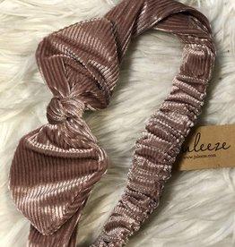 Haarband strik oudroze fluweel
