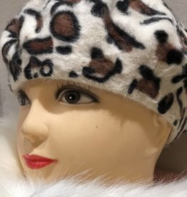 Baret off white met panter print