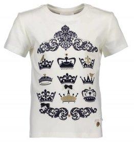 Le Chic Le Chic Shirt off white met blauw fluweele opdruk