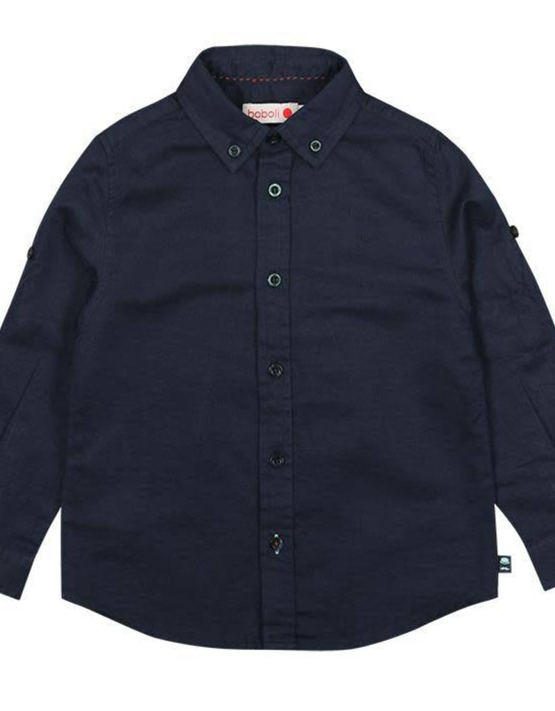 Boboli Boboli Linen shirt long sleeves for boy NAVY