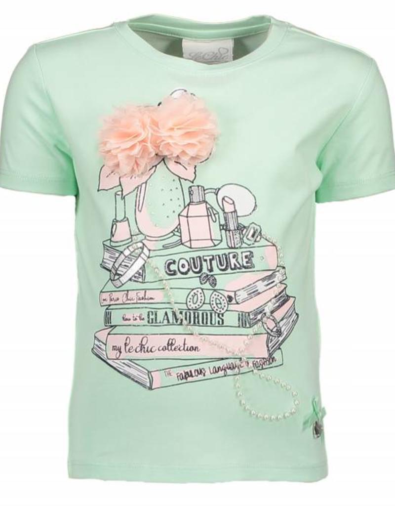 Le Chic Le Chic Shirt mint groen met parels en roze bloem