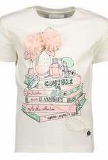 Le Chic Le Chic Shirt off white met parels en roze bloem