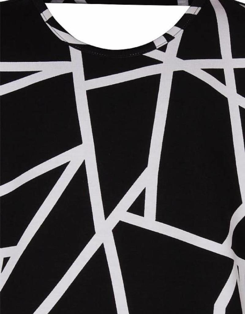 D- Xell D Xell Shirt zwart witmet wijde mouw