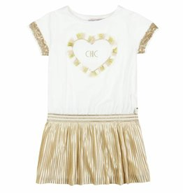 Boboli Boboli Combined dress for girl SAND