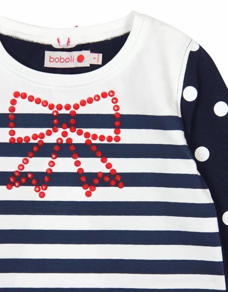 Boboli Boboli Stretch knit t-Shirt for girl NAVY