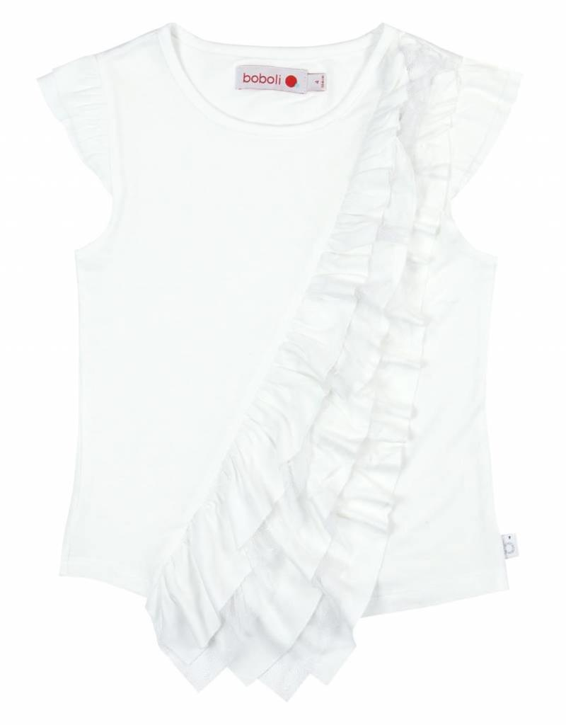 Boboli Boboli Stretch knit t-Shirt for girl WHITE-10