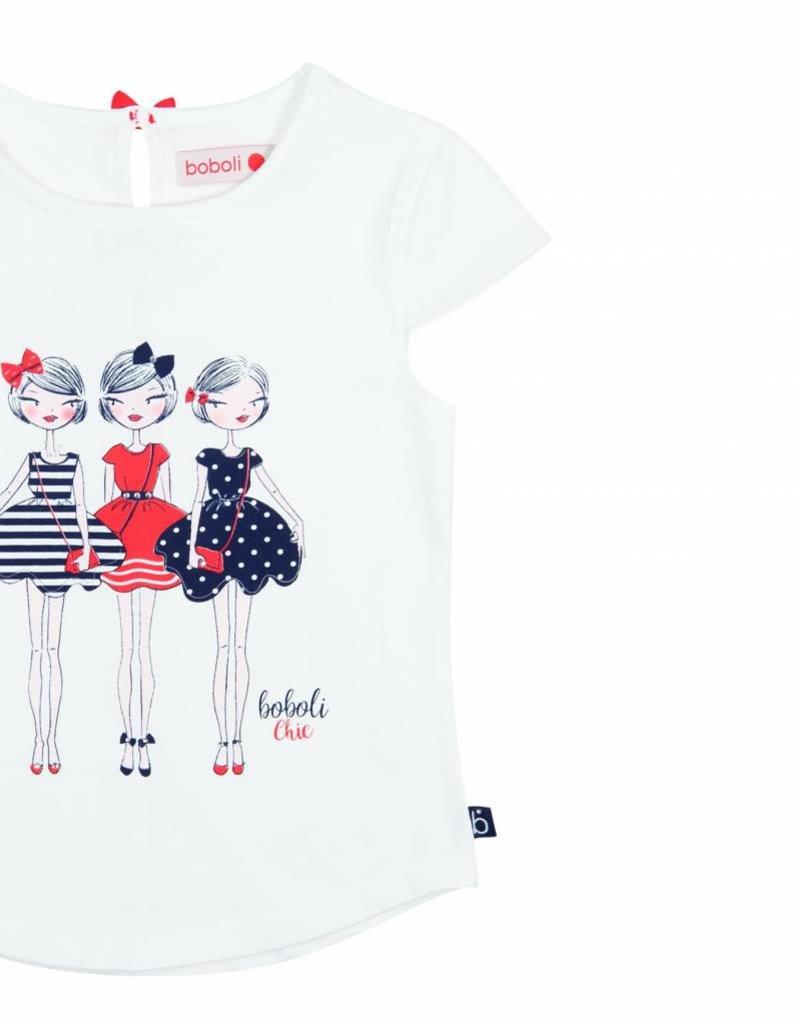 Boboli Boboli Stretch knit t-Shirt for girl WHITE-6