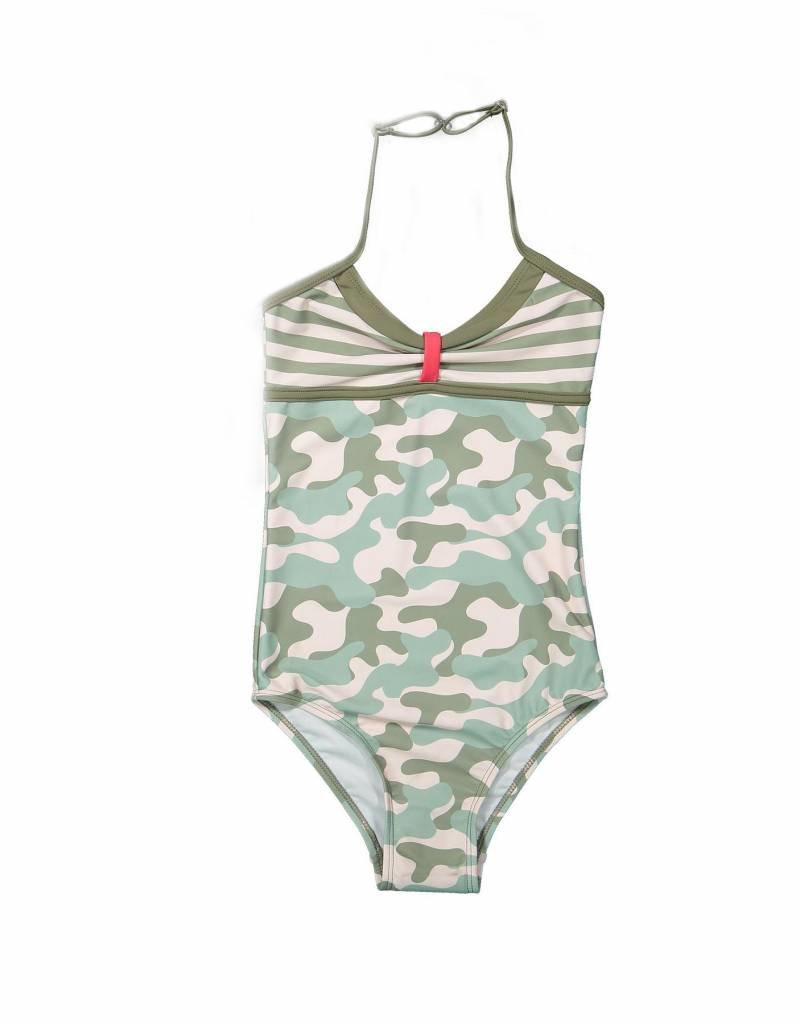 DJ DJ Swimsuit A-WHEN I AM WITH YOU Faded light pink + army green aop